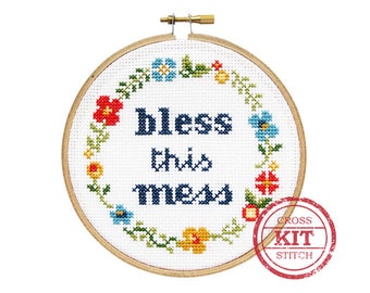 Bless This Mess DIY Cross Stitch Kit
