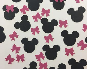 Black and Pink Mickey Mouse Confetti - Pink Minnie Mouse Confetti - Pink bow confetti - minnie mouse bow confetti - minnie mouse birthday
