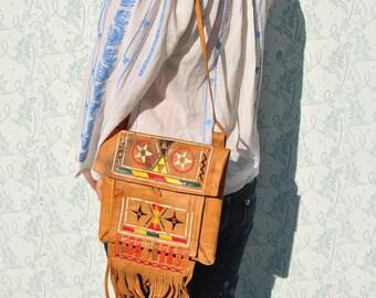 Leather bag, boho leather bag, vintage boho bag, ethnic leather bag, colorful leather bag, indian bag, leather fringe bag,hippie leather bag