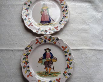 PAIR early QUIMPER  FAIENCE plates. Charming, collectible, naive, handmade, rustic.