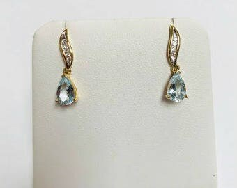 Vintage Pear Shaped Aqua Marines with accent diamonds! stunning!