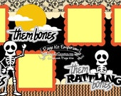 Scrapbook Page Kit Halloween Skeletons Bones Costume 2 page Scrapbook Layout Kit 038