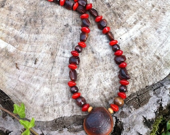 Ethnic necklace with exotic seeds from Brazil and caribbean islands