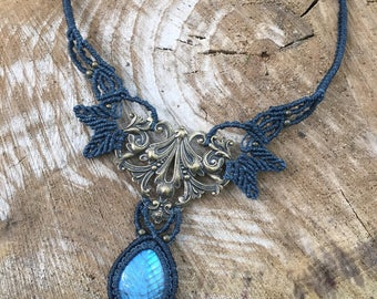 Victorian macrame necklace with a stunning carved blue labradorite and a metal stamping