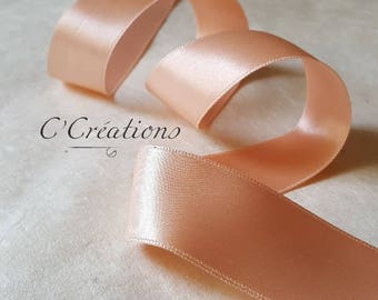 Satin ribbon for wedding decoration, peach pink