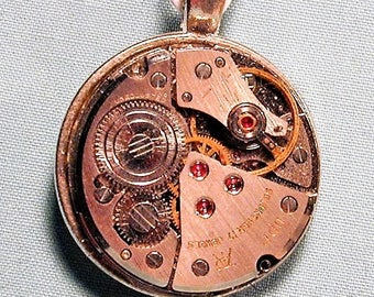 Steampunk Vintage Watch Movement Pendant with Chain OOAK #26