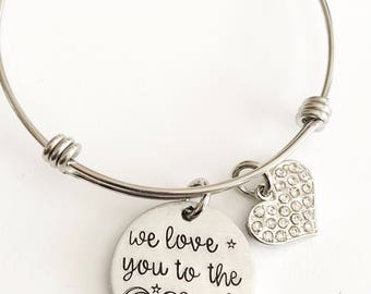 I love you to the moon and back- Mother's bracelet - Hand stamped jewelry - Moon and back bracelet - Mommy jewelry - Hand stamped bracelet