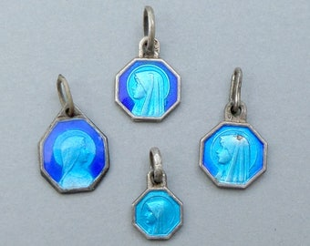 French, Lot Antique Religious Sterling Little Pendant. Saint Virgin Mary. Bernadette Soubirous Lourdes. Blue Enamel Medal. 170720 2 H