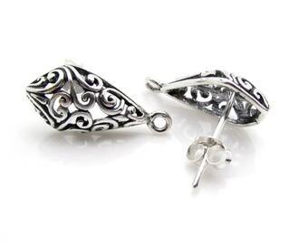 2 Pcs (1 Pair), Sterling Silver Ear Post + Ear Nuts