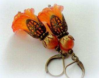 Orange Peach Earrings, Hand Painted Earrings, Flower Earrings, Peachy Orange, Filigree Earrings, Tangerine and Peach, Floral Earrings, Boho