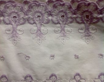 Pair of vintage pillowcases....lavender embroidery....good condition....eyelet....serrated edges