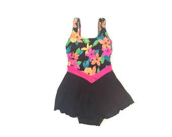 Vintage 80s One Piece Bathing Suit with Skirt