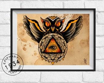 Tattoo print Illuminati owl print. Neo Traditional Tattoo flash.