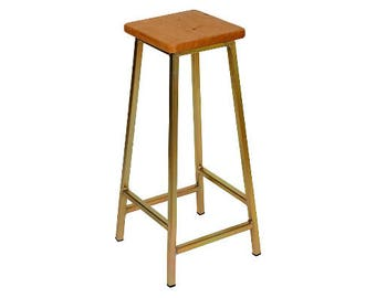 Bertie G Fouroaks - Zinc Plated Bar Stool with Square Oak Seat