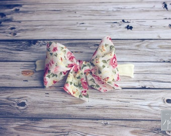 """Vintage Inspired Floral Bow Headband, Baby Headband, Hair Clips or Headband, Nylon Bow Headband, 4"""" Bows, Lace Bows, Floral Headband"""