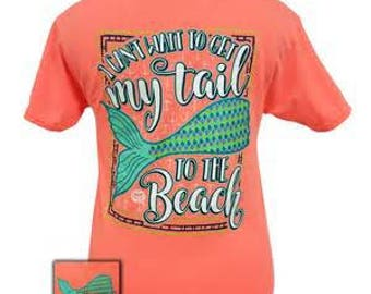 Youth and Adult Monogram Can't Wait to get my Tail to the beach Mermaid Neon T shirt, Tee Shirt, T-Shirt