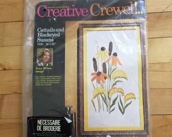 Vintage 1970s Cattails Black Eyed Susans Floral Crewel Embroidery Craft Kit!