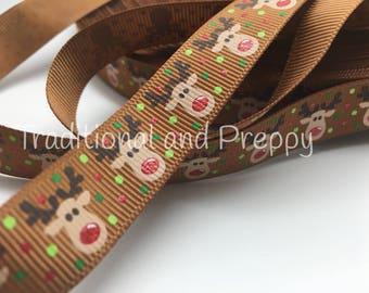 """US Designer 5/8"""" Christmas Reindeer Glitter on Brown Grosgrain Ribbon"""