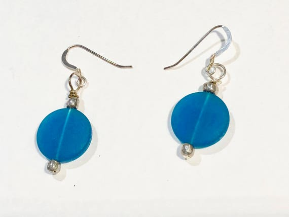 Round blue sea glass earrings with silver-plated ear wires