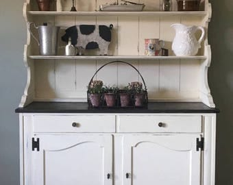 Hutch Farmhouse Kitchen Cottage Rustic Cabinet Storage