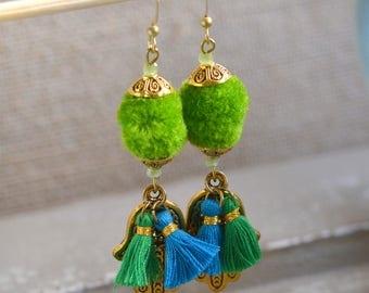 Turquoise Green Pom Pom Tassel Earrings, Tassel Earrings, Pom Pom Earrings, Hamsa Earrings, Boho Earrings, Colorful Jewelry, One, WL17-1125A
