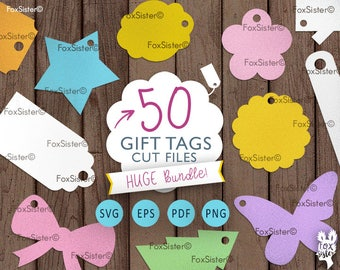 50 Svg Gift Tags, Svg Labels | Cut File Bundle | Digital svg tags | Christmas Svg | heart svg | vinyl decal Winter | for Cricut, Cameo