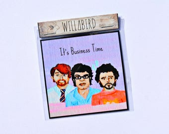 Flight of the Conchords Magnet by Artist Amber Petersen. 3x3 inch Flat Magnet. It's Business Time, Jemaine Clement, Bret McKenzie, Murray
