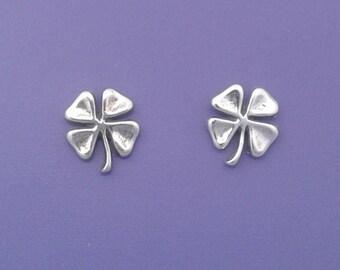 Four Leaf CLOVER Earrings .925 Sterling Silver Irish Shamrock Post Stud - se2602