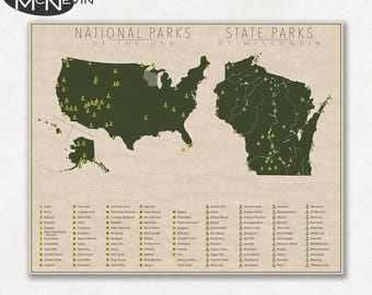 national and state park map of wisconsin and the united states fine art pographic print