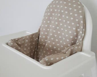 Hearts on natural Antilop IKEA highchair cushion cover - cushion cover only - shabby chic style - nature inspired highchair READY to SHIP