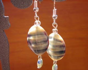 Pearl Earrings vintage glass waves reflections