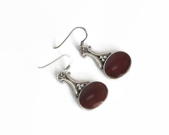 Sterling silver carnelian hook dangle earrings with large oval carnelian stones in bezel setting, little silver balls, stamped 925, 7 grams