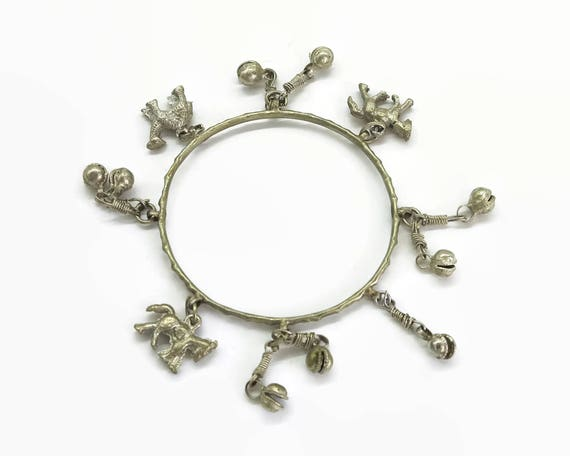 Ethnic bangle with bells and animal charms, silvery gold tone metal, horses and camel charms, tribal, Boho, 8.5 inches / 21.5 cm