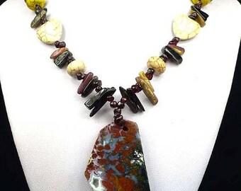 Beautiful handmade necklace made of tourmaline and Opal.