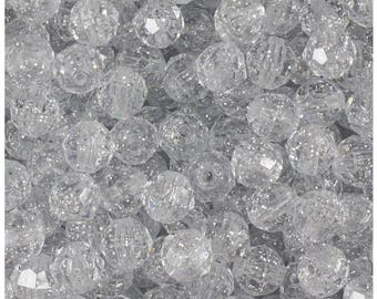 BeadTin Silver Sparkle 10mm Faceted Round Plastic Craft Beads (210pcs)