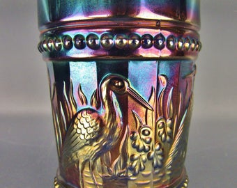 Carnival Glass - Dugan / Diamond STORK & RUSHES Blue Beaded Tumbler