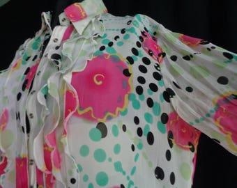 Vintage blouse chiffon flowers and ruffles large