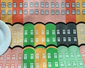Linen Tablecloth or Table runner - Scandinavian linen fabric - Table linens - Yellow/Red/Green Geometric