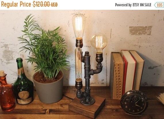 30% OFF SALE Industrial Lighting - Steampunk Lamp - Table Lamp - Edison Light - Vintage Light - Pipe Lamp - Bedside Lamp - Rustic Lighting -