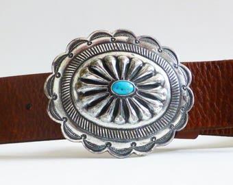 Vintage Ralph Lauren Western Belt • Turqouise Silver Buckle