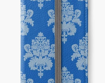 Folio Wallet Case for iPhone 8 Plus, iPhone 8, iPhone 7, iPhone 6 Plus, iPhone SE, iPhone 6, iPhone 5s -  Blue Damask Pattern Case