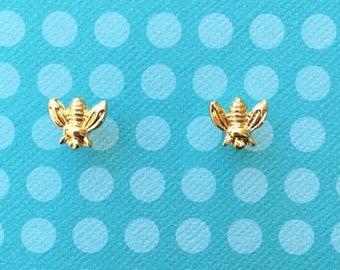 "Fun in the Sun ""Busy Bee"" Dainty Gold Bee Earrings"