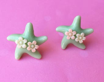 "Under The Sea Collection ""Sea Star Sweetheart"" Mint Green Mermaid Starfish Earrings with Pink and White Flowers"