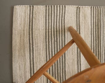 Striped grey and off white cotton floor runner, W70 L140cm