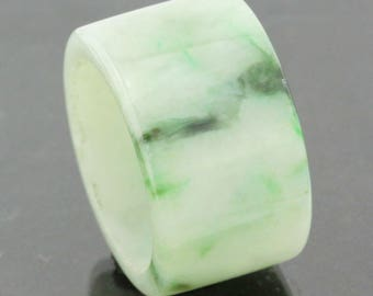 """Jadeite Ring 100% Natural grade A  Untreated """"moss in snow"""""""