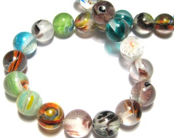 1 Strand Handmade Mixed Color Round Lamp work Glass Beads 10mm