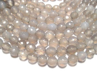 1 Strand Gray Faceted Round Natural Agate Beads 6mm (No,G580)
