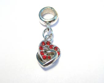 Antique Silver Red Rhinestone Heart Dangle Pendant Bail charms Pendant