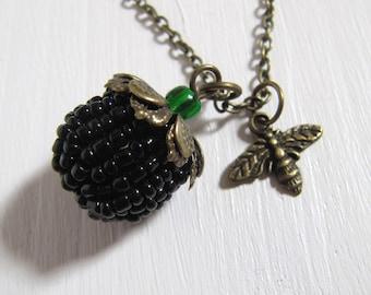 Brombeere und Biene Glasperlen Halskette vintage Stil Bronze