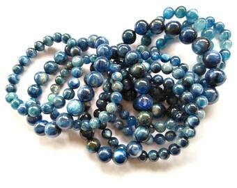25%OFF--8\10\12\14mm Blue Kyanite Bracelet Kyanite Gemstone  Kyanite  Round Bracelet 8inch